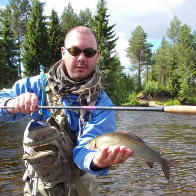 Tenkara guide Chris Hendriks with nice grayling at Ljora river